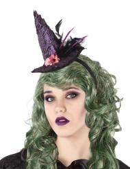 Haarreif mit Miniatur-Hexenhut Accessoire für Damen lila