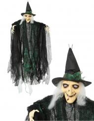 Nachtleuchtende Hexe Hängedekoration für Halloween schwarz-grün 110 cm