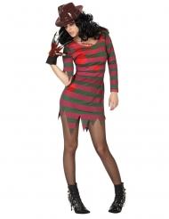 Serienmörder-Damenkostüm Killer Halloween rot-grün
