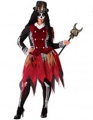 Voodoo-Priesterin-Damenkostüm schwarz-rot