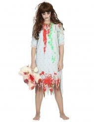 Zombie-Kostüm für Damen Nachthemd weiss-rot-grün