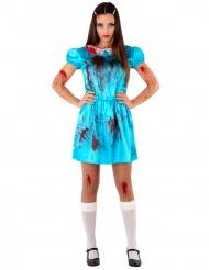 Blutiges Zimmermädchen-Kostüm für Damen blau-rot
