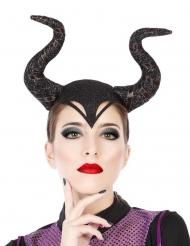 Haarreif mit Hörnern für Hexen-Verkleidungen schwarz