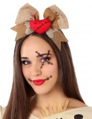 Haarreif-Voodoo-Puppe Herz mit Schleife Halloween-Zubehör braun-rot