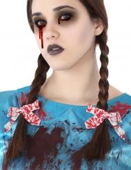 Blutige-Haarschleifen Zubehör für Halloween weiss-rot