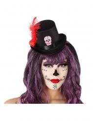 Tag der Toten-Miniatur-Hut für Halloween Totenkopf-Accessoire schwarz-rot
