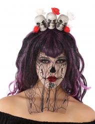 Tag der Toten-Haarreif mit Schleier und Totenköpfen schwarz-weiss
