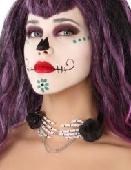 Skelett-Halskette Kostümaccessoire Dia de los Muertos für Damen