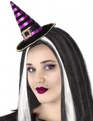 Miniatur-Hexenhut Halloween-Zubehör für Damen schwarz-lila