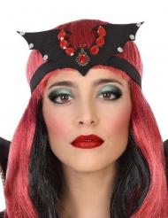 Vampir Fledermaus-Kopfschmuck für Damen Halloween-Accessoire schwarz-rot