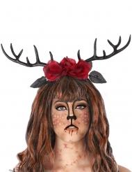 Stilvolles Hirschgeweih mit Rosen Kostüm-Accessoire schwarz-rot