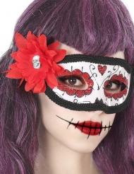 Tag der Toten Augenmaske mit roter Blume Erwachsene