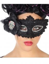 Tag der Toten-Augenmaske für Damen schwarz-silber