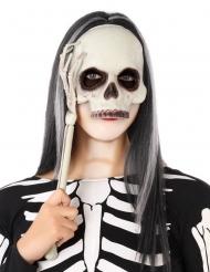 Skelett-Maske mit Halterung Halloween-Accessoire schwarz-weiss