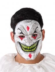 Schaurige Horror-Clownmaske Halloween weiss-gelb-rot