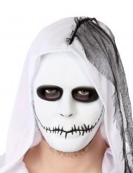 Schaurige Maske mit zugenähtem Mund Zubehör weiss-schwarz
