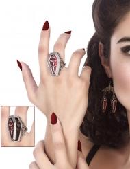 Sarg-Ring Kostümaccessoire für Erwachsene grau-rot