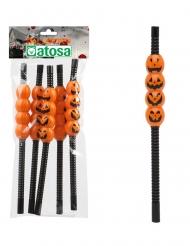 Kürbis-Trinkhalme Tischzubehör für Halloween 5 Stück schwarz-orange 22cm