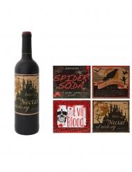 Etiketten für Flaschen Halloween-Zubehör für Getränke 4-teilig braun-rot