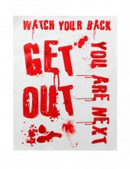 Blutiges Poster Get Out Halloween-Dekoration weiss-rot 42 x 19 cm