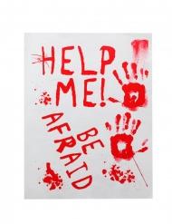 Blutiges-Schild Help me & be afraid Raumdekoration weiss-rot
