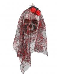Skelett-Schädel Braut zum Aufhängen Halloween-Deko weiss-schwarz-rot 15 x 30cm