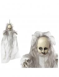 Geister-Puppe-Hängedekoration für Halloween weiss-grau 50cm