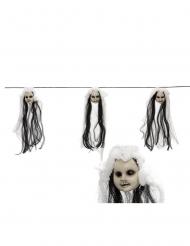 Girlande mit Puppenköpfen Halloween-Dekoration schwarz-weiss 153 cm