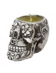 Totenkopf-Kerze Sugar Skull Tischdekoration weiss-grau 6 cm