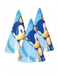 6 Sonic™ Partyhüte aus Pappkarton blau