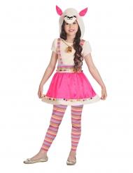 Trendiges Lama-Kostüm für Mädchen Karnevals-Kostüm pink-beigefarben