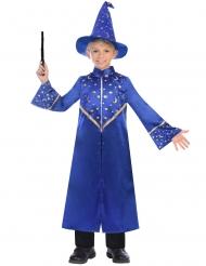 Magier-Kostüm für Kinder Zauberer-Robe blau-gold