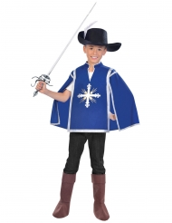 Musketier-Kinderkostüm für Karneval blau-weiss-schwarz