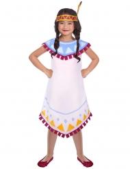 Süße Indianerin-Kinderkostüm für Karneval weiss-bunt