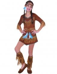 Indianerin-Mädchenkostüm für Karneval braun
