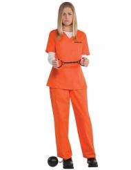 Gefangene Damenkostüm Sträflings-Verkleidung orange