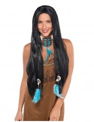 Indianerin langhaar-Perücke mit Zöpfen und Federn schwarz
