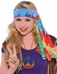 Hippie-Haarband 60er-Jahre Tie-Dye für Erwachsene bunt