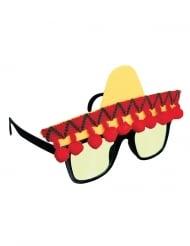 Witzige Fiesta Mexiko Brille für Erwachsene gelb-rot