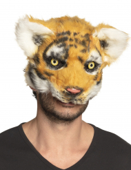 Plüschige Tiger-Maske für Erwachsene Accessoire für Fasching orange-schwarz-weiss