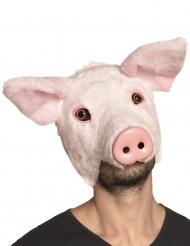 Tierische Schweinemaske für Erwachsene Accessoire Fasching rosa
