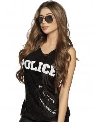 Polizei-Top mit Pailletten Kostümzubehör schwarz-weiss