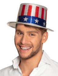 USA-Zylinder mit Flaggen-Motiv Kostüm-Accessoire rot-weiss-blau