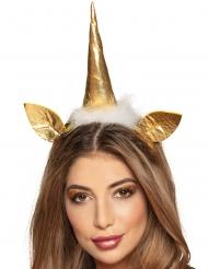 Einhorn-Haarreif Kopfschmuck für Damen gold-weiss