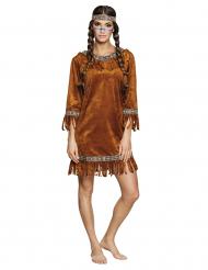 Indianerin-Damenkostüm Samtkleid für Karneval braun