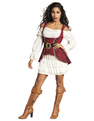 Barock Piratin-Damenkostüm für Karneval rot-weiss-schwarz