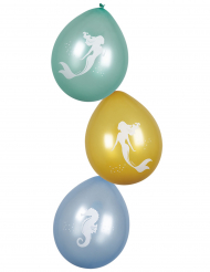 Hübsche Meerjungfrauen-Luftballons 6 Stück bunt 25 cm