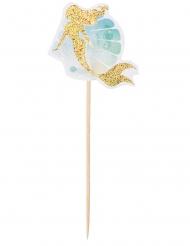 Meerjungfrauen-Deko-Spieße Tischdeko für Häppchen 12 Stück bunt 12 cm