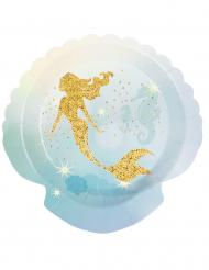 Meerjungfrauen-Pappteller Kindergeburtstag 6 Stück blau-goldfarben 18 cm