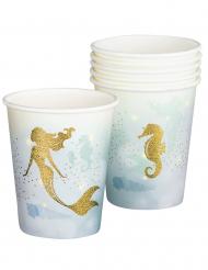 Meerjungfrauen-Pappbecher für einen Kindergeburtstag 6 Stück weiss-blau 250 ml